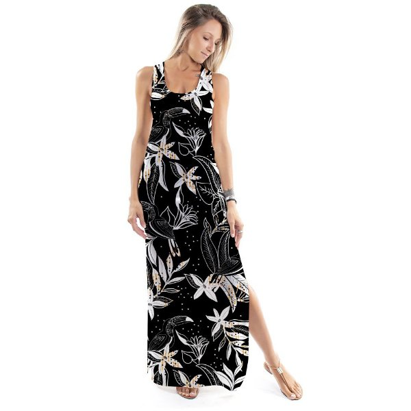 Vestido Longo Tulipa Tucano Floral Black