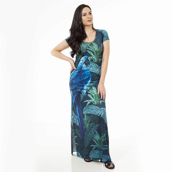 Vestido Longo Jeri Arara Azul