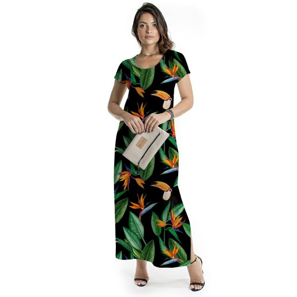Vestido Longo Jeri Estrelícia e Tucanos