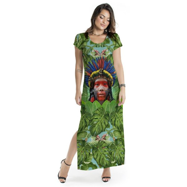 Vestido Longo Jeri Verde Índio Cocar
