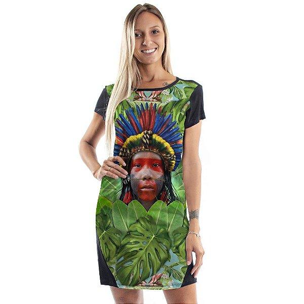 Vestido Curto Mullet Verde Índio Cocar