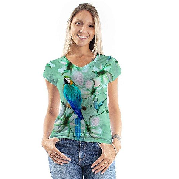 Blusa Florata Verde Arara Azul