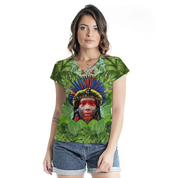 Blusa Florata Verde Índio Cocar