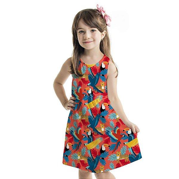 Vestido Tutti-Fruti Infantil Araras Coloridas