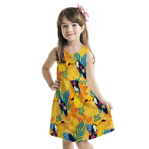 Vestido Tutti-Fruti Infantil Tucanos e Folhagens