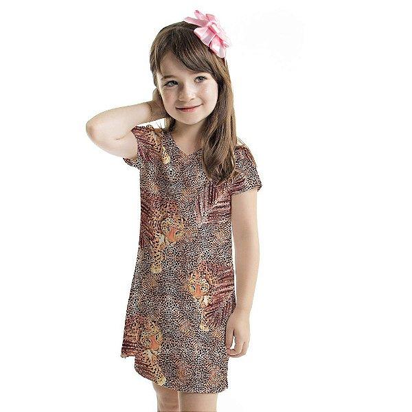 Vestido Curto Vanilla Infantil Animal Print