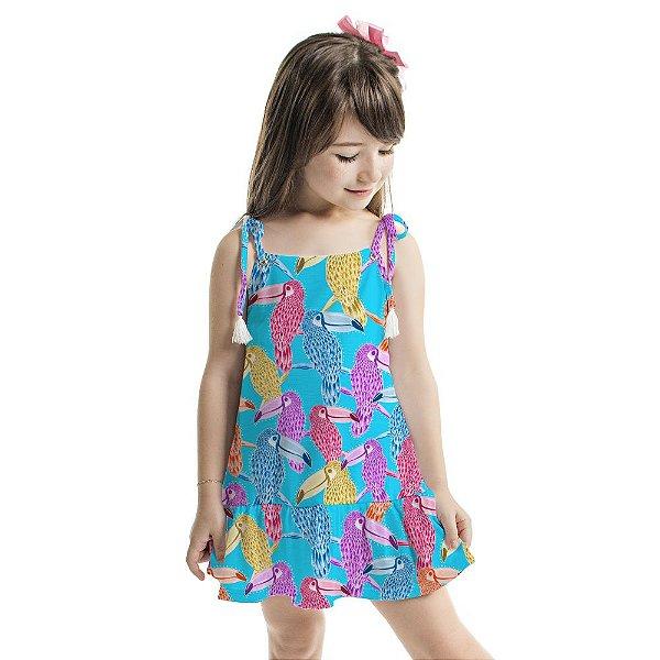Vestido Curto Amora Infantil Tucanos Coloridos