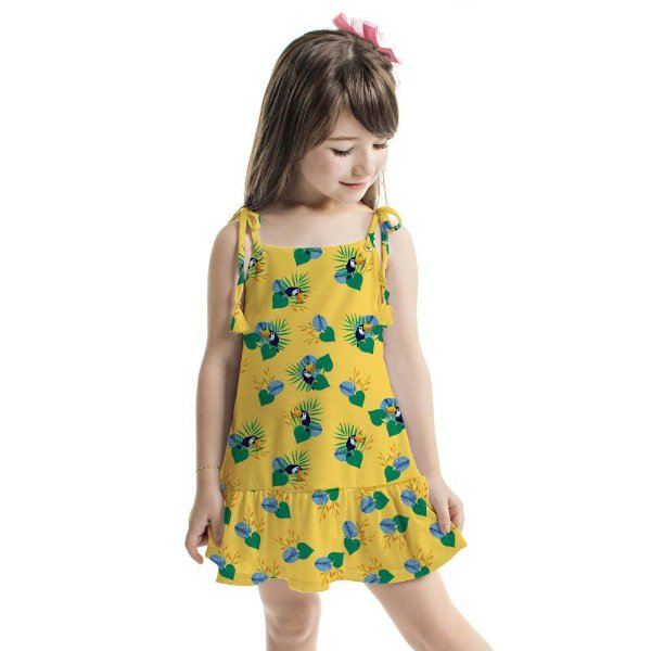 Vestido Curto Amora Infantil Amarelo Tucaninhos