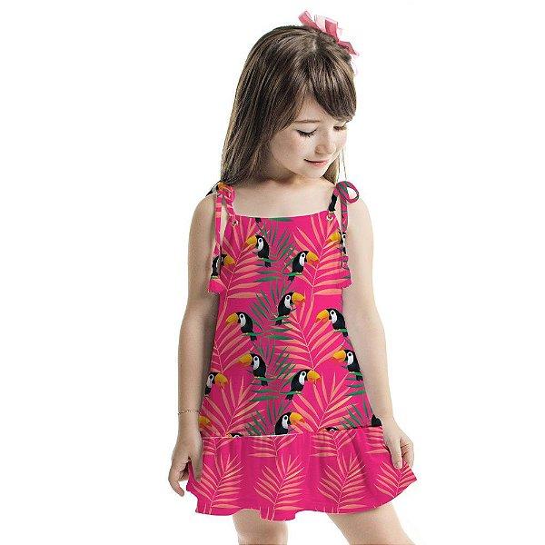Vestido Curto Amora Infantil Cor de Rosa com Folhagens