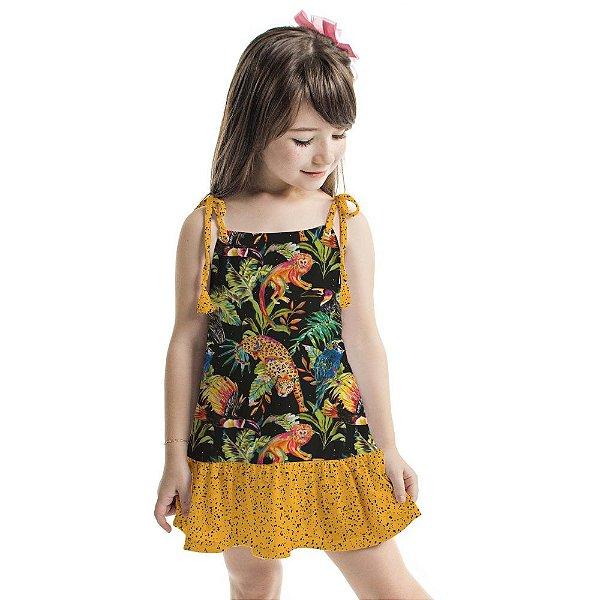 Vestido Curto Amora Infantil Micos e Onças