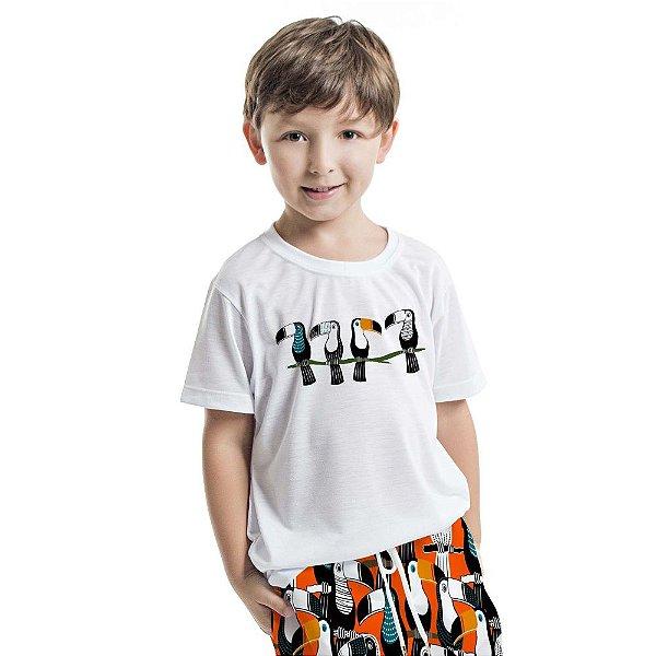 Camiseta Básica Infantil Tucanos no Galho