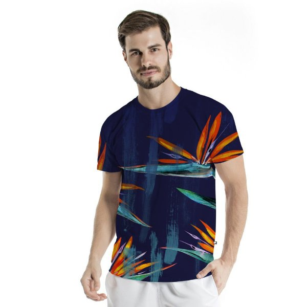 Camiseta Básica Adulto Azul Floral