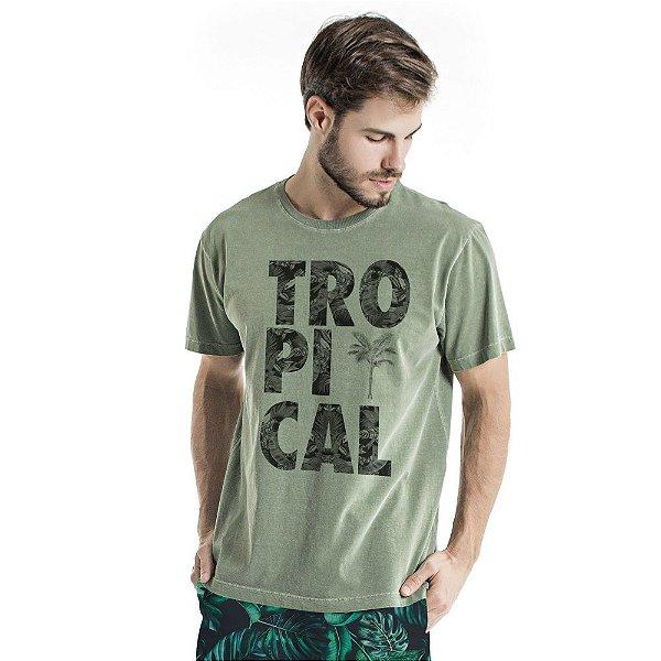 Camiseta de Algodão Estonada Verde Tropical