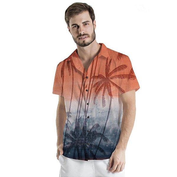 Camisa de Botão Adulto Bicolor Coqueiros