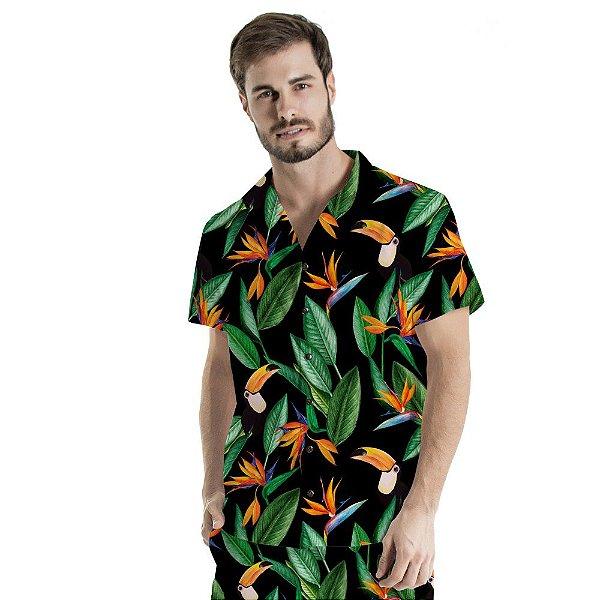 Camisa de Botão Adulto Estreliças e Tucanos