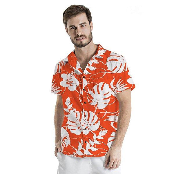 Camisa de Botão Adulto Vermelho Costela de Adão