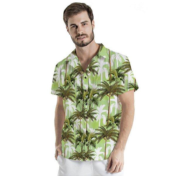 Camisa de Botão Adulto Coqueiros Verdes