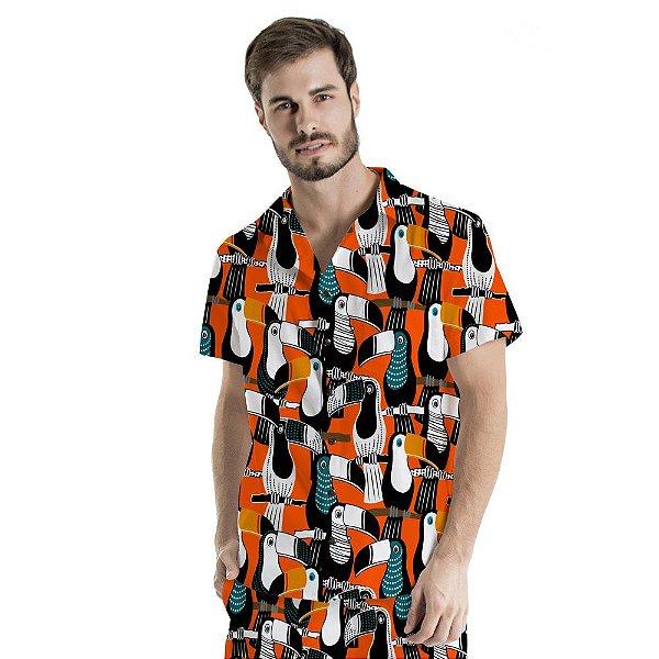 Camisa de Botão Adulto Tucanos Pontilhados