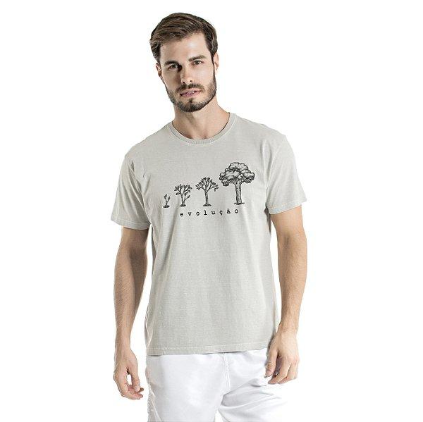 Camiseta de Algodão Estonada Cinza Evolução