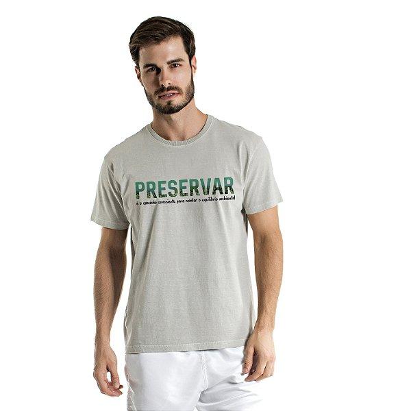 Camiseta de Algodão Estonada Cinza Preservar