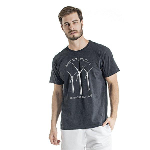 Camiseta de Algodão Estonada Preta Cataventos