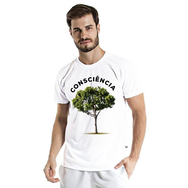 Camiseta de Algodão Estonada Branca Árvore Consciência