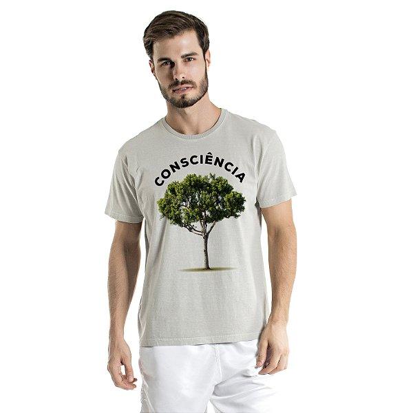 Camiseta de Algodão Estonada Cinza Árvore Consciência