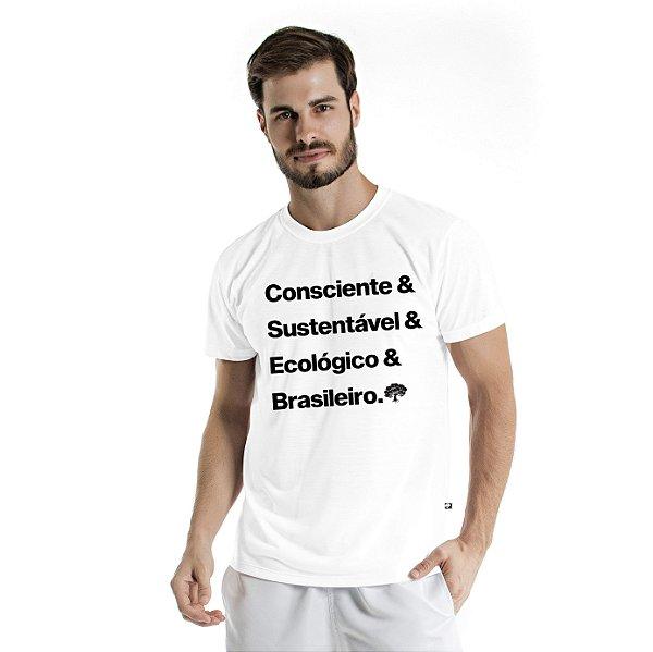 Camiseta de Algodão Estonada Branca Brasileiro Consciente