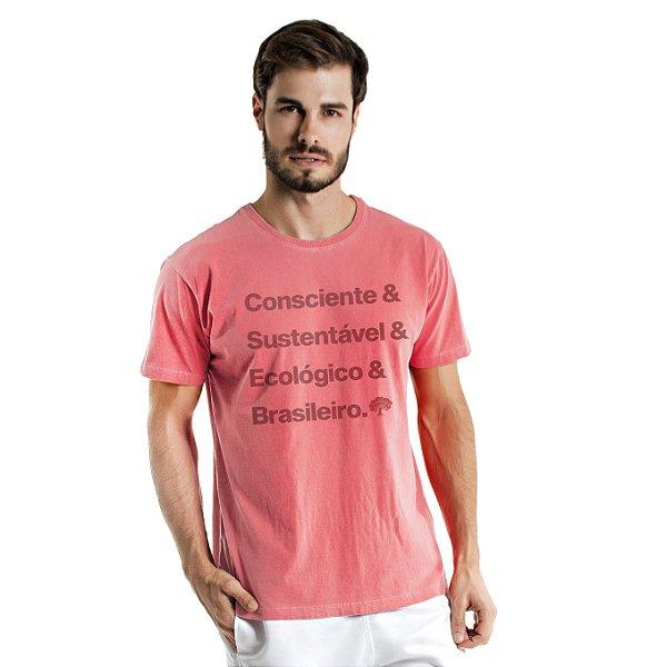Camiseta de Algodão Estonada Coral Brasileiro Consciente