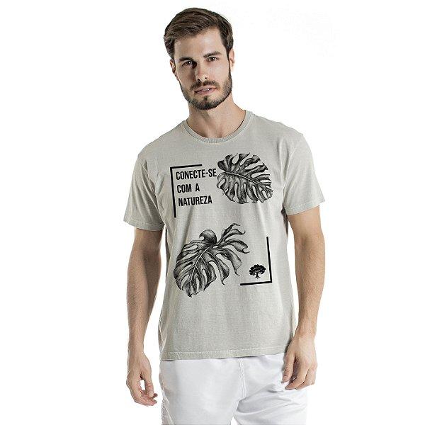 Camiseta de Algodão Estonada Cinza Conexão