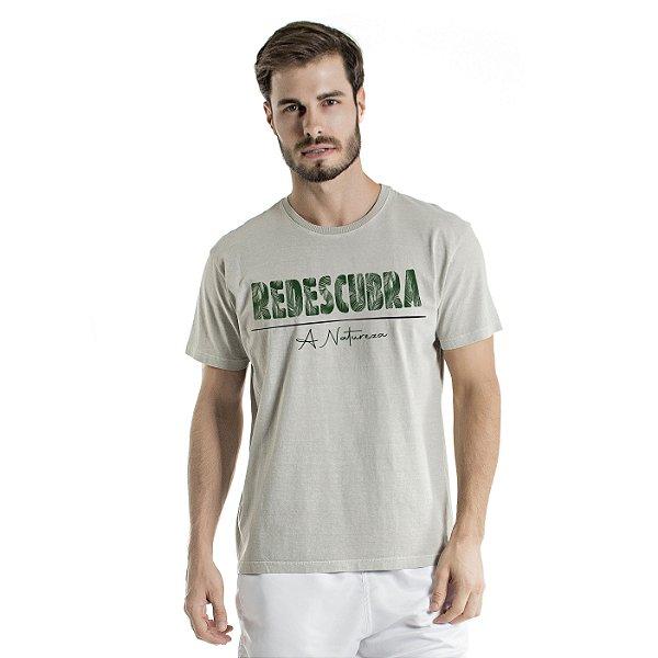 Camiseta de Algodão Estonada Cinza Redescubra