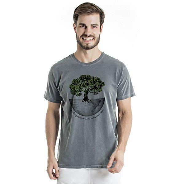Camiseta de Algodão Estonada Chumbo Mundo Mais Consciente
