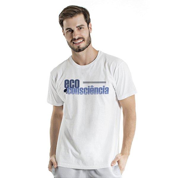 Camiseta de Algodão Estonada Branca Consciência