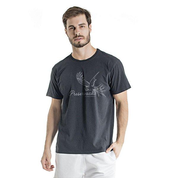 Camiseta de Algodão Estonada Preta Preservação