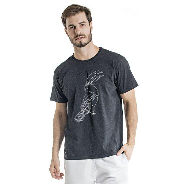 Camiseta de Algodão Estonada Preta Tucano Centralizado