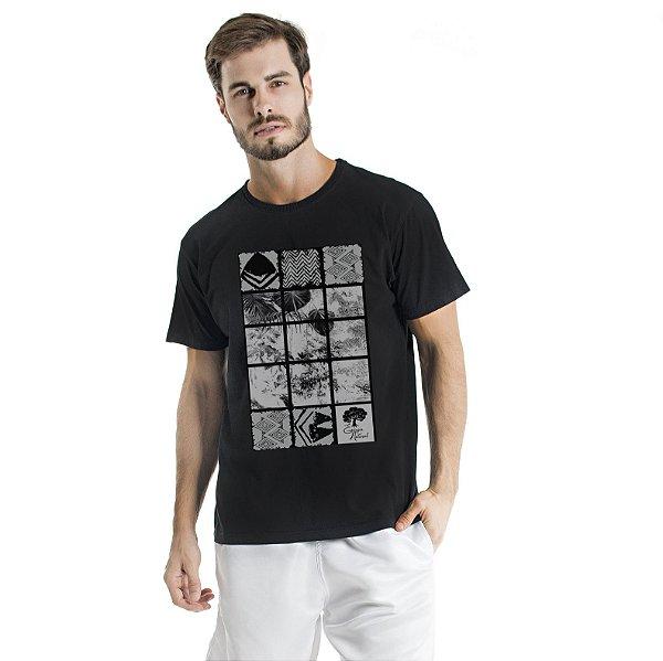 Camiseta de Algodão Estonada Preta Floresta e Tribais