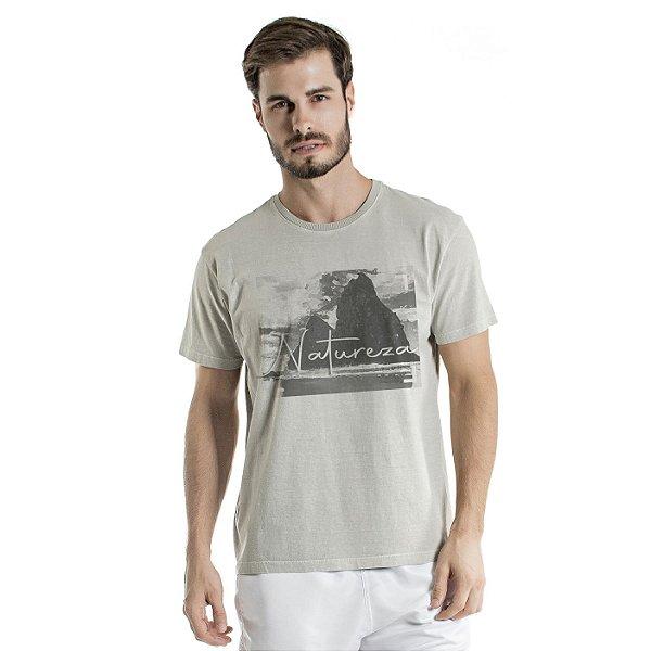 Camiseta de Algodão Estonada Cinza Montanhas