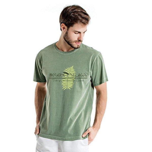 Camiseta de Algodão Estonada Verde Samambaia