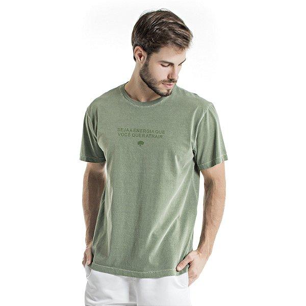 Camiseta de Algodão Estonada Verde Atrair Energia