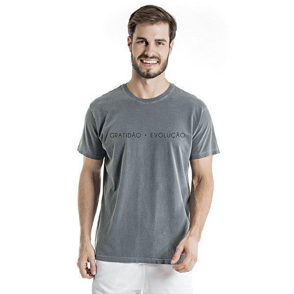 Camiseta de Algodão Estonada Chumbo Gratidão Evolução