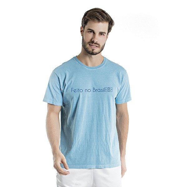 Camiseta de Algodão Estonada Azul Celeste Escrita Feito no Brasil