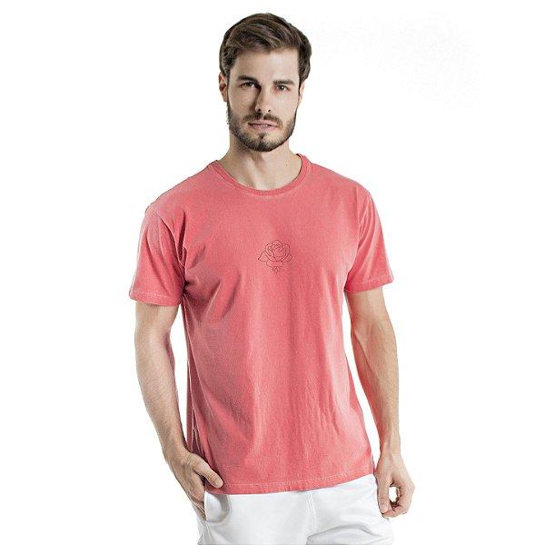 Camiseta de Algodão Estonada Coral Flor com Escrita Gratidão
