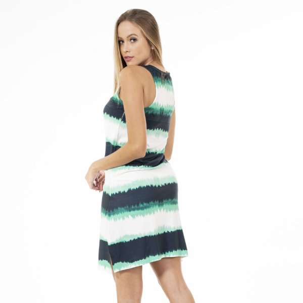 Vestido Brisa Curto Sem Manga Tie Dye Marinho-Verde