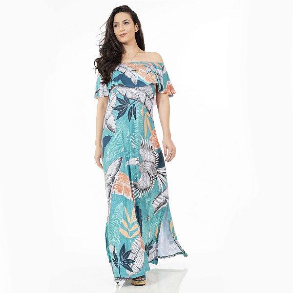 Vestido Longo Ciganinha Azul Claro