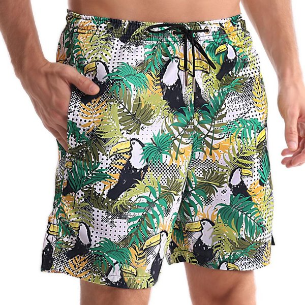 Bermuda Masculino Adulto Tucanos e Folhagens Verde e Amarelo