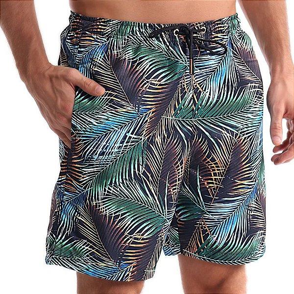 Bermuda Masculino AdultoFolhas de Palmeira Azul e Cobre