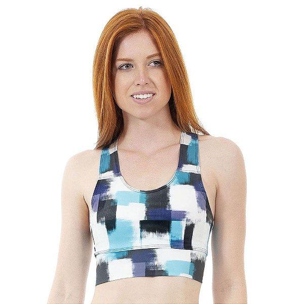 Top Fitness Feminino Pinceladas Azul e Branco