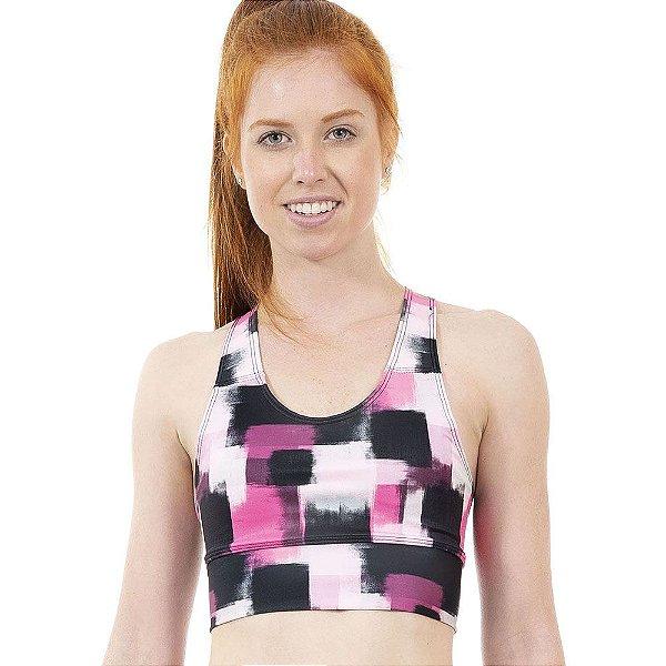 Top Fitness Feminino Pinceladas Rosa e Preto