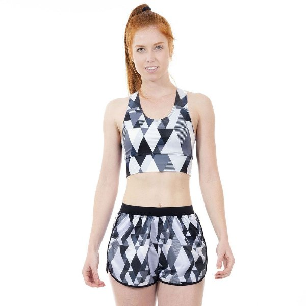 Shorts Fitness Geométrico Preto e Branco Feminino