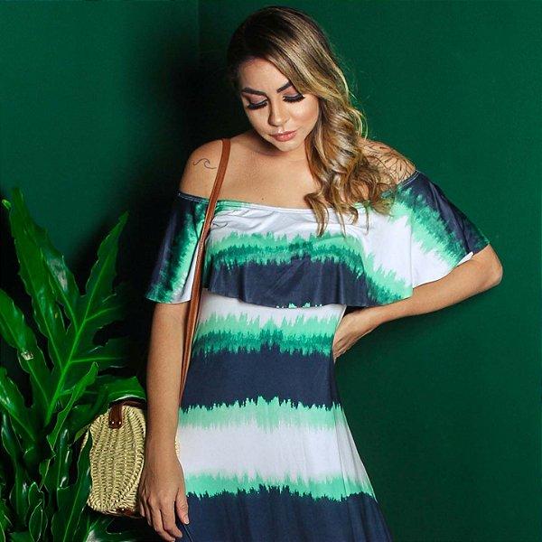 Vestido Longo Ciganinha Tie Dye Marinho-Verde